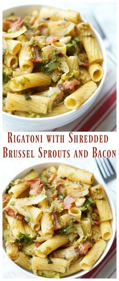 Rigatoni with Shredded Brussel Sprouts and Bacon is an easy pasta recipe! With shredded brussel sprouts and bacon, this rigatoni recipe is our new favorite! Rigatoni Recipes, Easy Pasta Recipes, Dinner Recipes, Cooking Recipes, Healthy Recipes, Drink Recipes, Yummy Recipes, Yummy Food, Shredded Brussel Sprouts