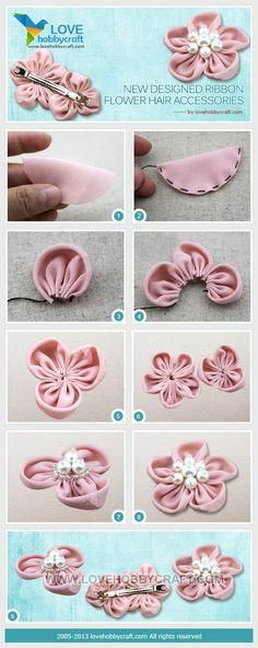 43 Ideas for craft baby diy hair bows Diy Hair Bows, Diy Bow, Flowers In Hair, Fabric Flowers, Barrettes, Hairbows, Flower Hair Accessories, Sewing Accessories, Ribbon Work