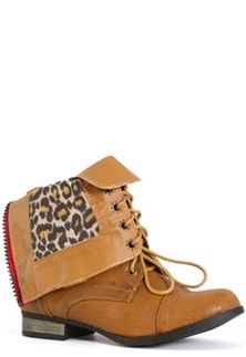 Charles Albert Cablee Leopard Cuff Combat Boots in Cognac CABLEE-COGNAC/LEP