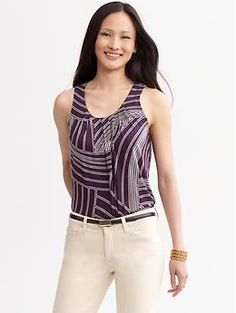 Printed pleat-neck tank | Banana Republic - love the graphic print
