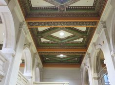 Koffler Student Centre Bookstore ceiling - former Toronto Central/Reference Library Carnegie Library, Library Boards, University Of Toronto, Landscape Photos, Libraries, Centre, Public, Stairs, Ceiling