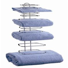 Love this idea!  Amazon.com: Taymor Hotel Chrome Four Guest Towel Holders: Home & Kitchen Bathroom Shelves For Towels, Towel Holder Bathroom, Towel Holders, Towel Racks, Bathroom Storage, Rv Storage, Storage Ideas, Contemporary Towel Bars, Wall Mounted Towel Holder