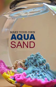 Amazingly fun ways to play with sand including recipes for aqua sand, magic sand, sand slime, sand paint, homemade colored sand, and how to make a sand volcano.