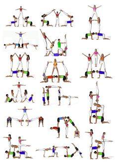 There are a lot of yoga poses and you might wonder if some are still exercised and applied. Yoga poses function and perform differently. Each pose is designed to develop one's flexibility and strength. Gymnastics Stunts, Acrobatic Gymnastics, Cheer Stunts, Cheerleading, Gymnastics Routines, Partner Yoga, Power Yoga Workout, Acro Yoga Poses, Group Yoga Poses