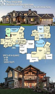 Architectural Designs House Plan 95023RW. 4+BR   3+BA   3,800+SQ.FT. ❣️❣️❣️❣️