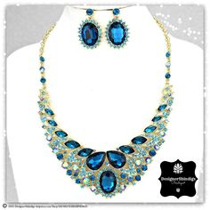 OS Teal Rhinestone Tear Drop Statement Bridal Bib Necklace and Earrings Set by DESIGNERSHINDIGS on Etsy