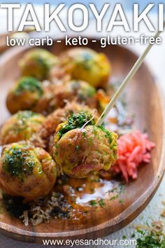 Traditional Japanese takoyaki reinvented this recipe is low carb keto-friendly and gluten-free These octopus balls don t actually contain octopus They can also be made vegetarian Fun to make and guilt-free Lunch Recipes, Gourmet Recipes, Appetizer Recipes, Cooking Recipes, Vegetarian Cooking, Vegetarian Barbecue, Smoothie Recipes, Dinner Recipes, Healthy Dishes