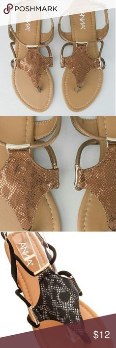 Sale sale New Faux snake skin sandals True to size Bronze color only Light weight Lightly cushioned sole Anna Footwear Shoes Sandals