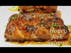 HONEY JERK SALMON || PAN SEARED || SHAREY'S KITCHEN - YouTube Recipes With Fish And Shrimp, Shrimp Recipes, Salmon Recipes, Jerk Salmon, Pan Seared Salmon, Meatloaf, Crisp, Seafood, Pork