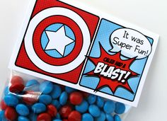 "Superhero Collection (Captain America). Favor Tags (5"" fold over). DIY Printable Design. Pinkadot Shop. $6.00, via Etsy."