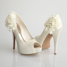 Allure Bridals-Sleek Ivory Satin Flower Peep Toe Heel - Unique Vintage - Cocktail, Evening, Pinup Dresses from Unique Vintage. Wedding Pumps, White Wedding Shoes, Wedding Gloves, Cute Shoes, Me Too Shoes, Pretty Shoes, Unique Shoes, Peep Toe Heels, Shoes Heels