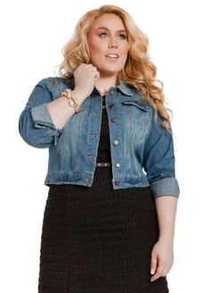 Ashley Stewart Women's Plus Size Faded Denim Vest | Jean jacket