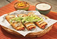 Homemade taquitos! These are seriously so delicious, and you can swap chicken for the carne picada.