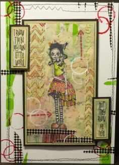 Artwork created by Amanda J using rubber stamps designed by Daniel Torrente for Stampotique Originals