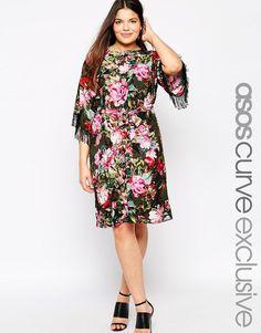ASOS Curve | ASOS CURVE Fringed Kimono Dress In Floral at ASOS