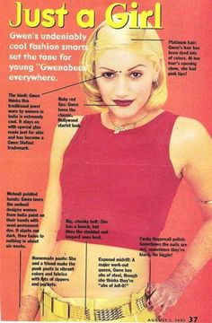 """12 Signs You Were A """"Gwenabee"""" - For the Gwen Stefani-obsessed citizens of the Tragic Kingdom. (I was definitely one.) Although I didn't do the henna, did the bend a couple times but it bugged me. Grunge Look, Grunge Style, Soft Grunge, 90s Style, Gwen Stefani 90s, Gwen Stefani No Doubt, Gwen Stefani Style, Gewn Stefani, Grunge Outfits"""