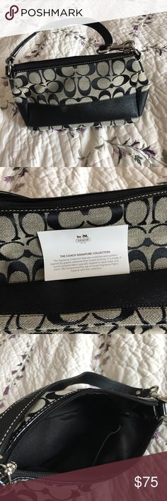 Small coach handbag, never used Small black and grey signature collection handbag in brand new condition Coach Bags Mini Bags