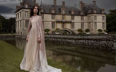 b44ec574644 Rose gold and pastel gossamer wing-inspired wedding dress with cape by Paolo  Sebastian    Beautiful couture wedding gown inspiration from Paolo  Sebastian s ...