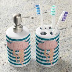 Blue Bold Stripes Jellyfish Toothbrush Soap Holder Soap Dispensers
