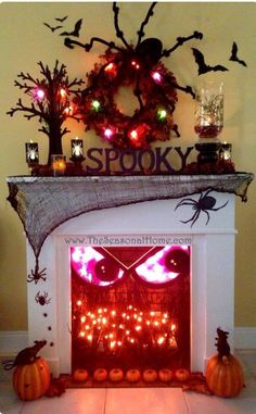 Amazing halloween fireplace mantle decoration