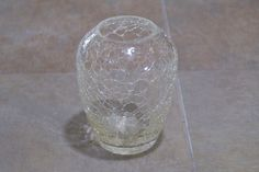 Vintage Crackle Glass Vase Glassware Clear Folk Art Shabby Chic Decor Flower Bud | eBay