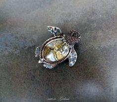 Купить Черепашка морская.Брошь - песочный коричневый, белый коричневый, коричневая черепаха брошь