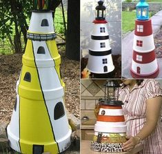 Make a Clay Pot Lighthouse - Do you have a favorite lighthouse? You could easily make a replica with clay pots! Here are a few ideas how to make a clay pot lighthouse that you can use to brighten up a space in your yard or inside.