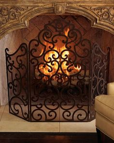 Country Fireplace Screens - Spring is finally here. So now the fireplace time is winding down. Fireplace Decor, Tuscan Fireplace, Fireplace Screens, Fireplace Makeover, Wrought Iron Fireplace Screen, Country Fireplace, Decorative Fireplace Screens, Tuscan Decorating, Fireplace