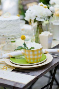 A YELLOW SPRINGTIME tablescape,  Love the gingham mug.