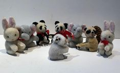Clip-On Plush Wool Animals Vintage Lot of 8 Pencil Grabbers Huggers