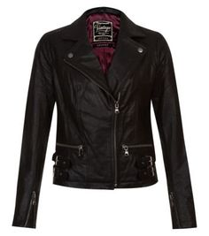 Black Leather Buckle Hem Biker Jacket