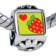 Pugster Bead Heart Strawberry Beads Fits Pandora Bracelet Pugster. $12.49. Hole size is approximately 4.8 to 5mm. Unthreaded European story bracelet design. Fit Pandora, Biagi, and Chamilia Charm Bead Bracelets. Bracelet sold separately. It's the photo on the flower charm