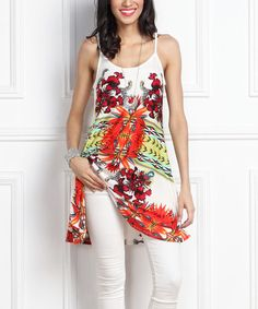 Another great find on #zulily! White Floral Spaghetti-Strap Tunic #zulilyfinds