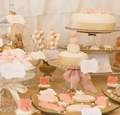 Pastel pink and beige dessert table... very elegant.