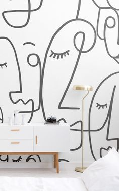 Large Face Line Drawing Wallpaper Mural These wondrous designs have been styled with boho-chic interiors and neutral toned furniture and furnishings. Drawing Wallpaper, Pink Wallpaper, Wallpaper Designs, Bedroom Wallpaper, Wallpaper Ideas, Boho Chic Interior, Face Line Drawing, Awesome Bedrooms, Decoration