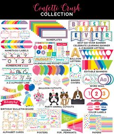 Confetti Crush Collection by Schoolgirl Style www.schoolgirlstyle.com rainbow confetti classroom decor dog cat pets animals primary colors bright colors classroom library classroom organization color coding library labels