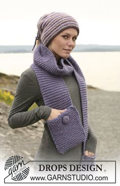 Knitted hat/neck warmer & pocket scarf, free patterns from Garnstudio