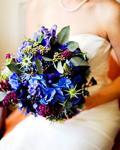 Bouquet de mariée bleu, vert et violet #mariage #wedding