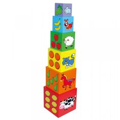 Wooden Stacking Blocks by Viga Construction Toys For Toddlers, Stacking Blocks, Wooden Cubes, Different Words, Christmas 2014, Toddler Toys, Kids Learning, Have Fun, Objects