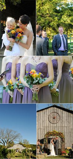 Rustic Fall Wedding with Creative DIY Ideas like the strapless, purple dresses.  See a lot of strapless bridesmaids w strapless bride.