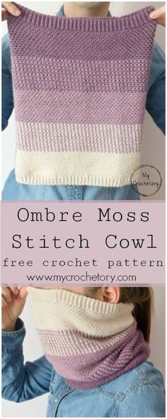 Ombre Moss Stitch Cowl – free crochet pattern. Beautiful crochet cowl with ombre effect. - Made with Drops Baby Alpaca Silk - beautiful colors! #crochetcowl