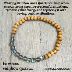 RELEASE: Rainbow Quartz • Bamboo Yoga Mala Bead Bracelet Bracelets For Men, Beaded Bracelets, Meditation Gifts, Yoga Mala, Rainbow Quartz, Boho Jewelry, Jewlery, Spiritual Jewelry, Stones And Crystals