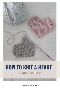 Knitted Heart Pattern, Beanie Knitting Patterns Free, Knitting Squares, Knitting Help, Knitting Yarn, Crochet Patterns, Learn How To Knit, How To Purl Knit, Knit Gifts