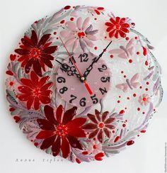 Купить часы из стекла, фьюзинг Вкус Бордо - бордовый, сиреневый, красный, Фьюзинг, стекло
