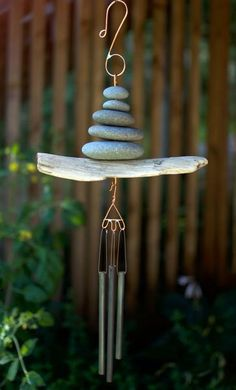 Pacific Driftwood Beach Stone Zen Wind Chime Handcrafted - Coast Chimes - 1