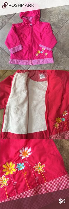 CARTER'S Lightweight Jacket Pink with pink & white checkered detail, embroidered flowers on the front, has hood & pockets, has warm cotton lining, EXCELLENT condition: last picture shows very tiny pen dots on the front. Carter's Jackets & Coats
