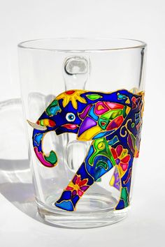 Elephant Mug Indian Elephant Coffee Mug Elephant Art por Vitraaze