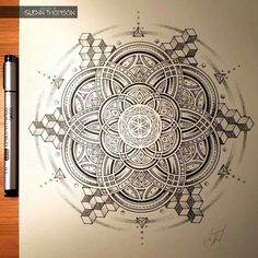 The Best Coloring Books for Adults - Mandalas, Florals, and Messages. Mandala Drawing, Mandala Tattoo, Mandala Art, Geometric Mandala, Geometric Designs, Sacred Geometry Tattoo, Doodle Art, Design Art, Illustration Art