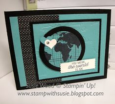 Stampin' Up!- Love this guy card using the set- 'Going Global', along with the coordinating Going Places Designer Series Pack & the World Traveler Embossing Folder!