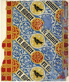 Augustus Welby Northmore Pugin, 1840-44. This is one of five wallpaper samples from The Grange, in Ramsgate, Kent, the house designed by A.W.N. Pugin, the designer and architect, for himself. V&A Museum, London, England.